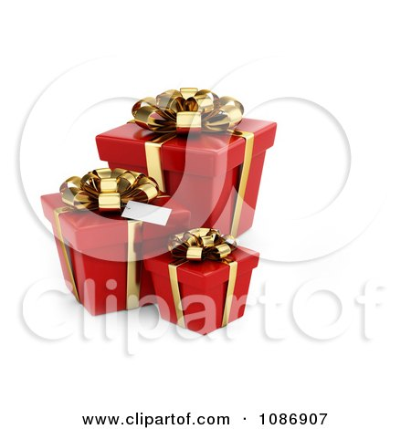Clipart 3d Red Gift Boxes With Golden Bows And Ribbons - Royalty Free CGI Illustration by BNP Design Studio