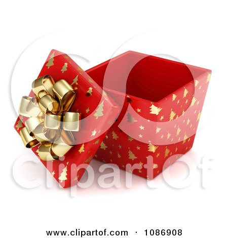 Clipart 3d Open Red Gift Box With Gold Christmas Tree Patterns And A Bow - Royalty Free CGI Illustration by BNP Design Studio