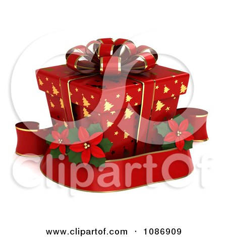 Clipart 3d Red Gift Box With Gold Christmas Tree Patterns And A Poinsettia Ribbon - Royalty Free CGI Illustration by BNP Design Studio