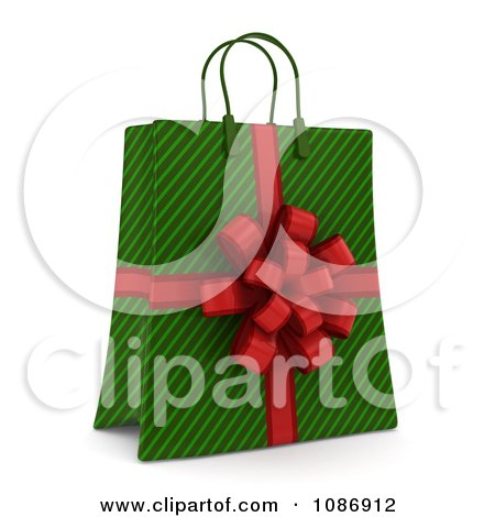 Clipart 3d Green Stripe Christmas Gift Or Shopping Bag With A Red Bow - Royalty Free CGI Illustration by BNP Design Studio