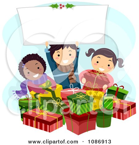 Clipart Kids With Christmas Gifts And Holding A Sign - Royalty Free Vector Illustration by BNP Design Studio