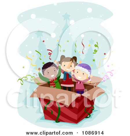 Clipart Kids Popping Out Of A Surprise Christmas Box - Royalty Free Vector Illustration by BNP Design Studio