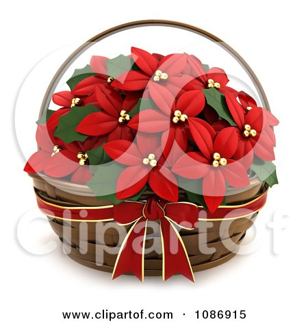 Clipart 3d Poinsettia Gift Basket - Royalty Free CGI Illustration by BNP Design Studio