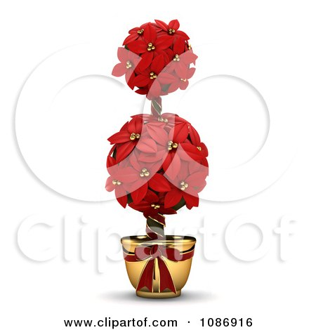 Clipart 3d Poinsettia Topiary Plant - Royalty Free CGI Illustration by BNP Design Studio