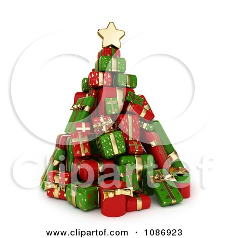 Clipart 3d Christmas Tree Of Red And Green Gifts - Royalty Free CGI Illustration by BNP Design Studio