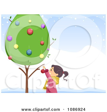 Clipart Girl Decorating A Live Tree In The Snow - Royalty Free Vector Illustration by BNP Design Studio