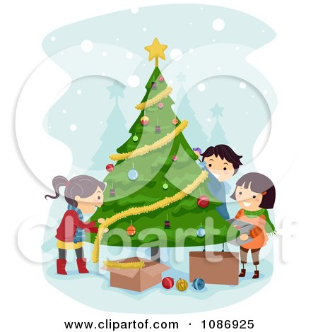 Clipart Kids Trimming A Christmas Tree Together - Royalty Free Vector Illustration by BNP Design Studio
