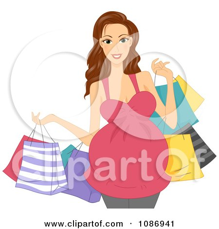 Clipart Brunette Pregnant Woman Carrying Colorful Shopping Bags - Royalty Free Vector Illustration by BNP Design Studio