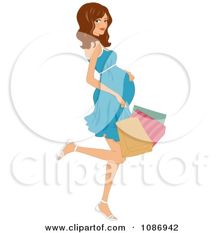 Clipart Pregnant Woman Kicking Back A Leg And Carrying Colorful Shopping Bags - Royalty Free Vector Illustration by BNP Design Studio