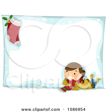 Christmas Stockings on Christmas Girl And Stocking On A Christmas Snow Frame