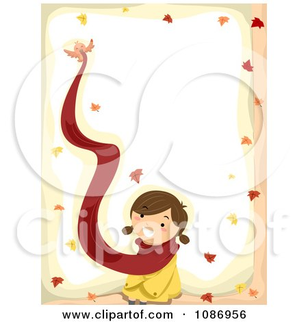Clipart Border Of A Bird Flying Away With A Girls Scarf In The Autumn - Royalty Free Vector Illustration by BNP Design Studio