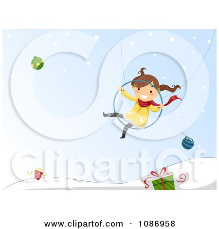 Clipart Girl Swinging Over A Winter Landscape With Baubles And Gifts - Royalty Free Vector Illustration by BNP Design Studio