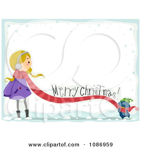 Clipart Penguin Feeling A Girls Scarf With A Merry Christmas Greeting And Snow - Royalty Free Vector Illustration by BNP Design Studio