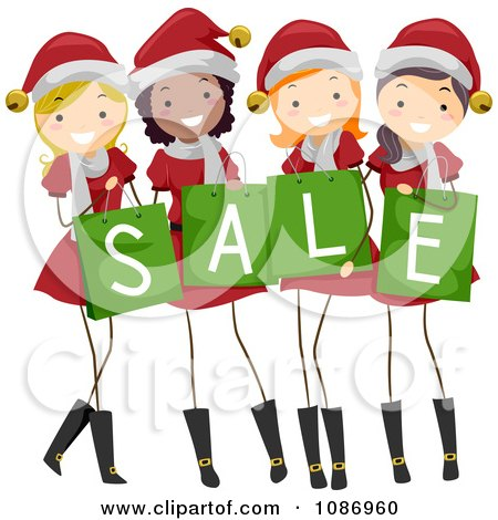 Clipart Christmas Girls In Santa Suits Holding Sale Shopping Bags - Royalty Free Vector Illustration by BNP Design Studio