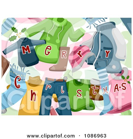 Clipart Background Of Merry Christmas Clothes - Royalty Free Vector Illustration by BNP Design Studio