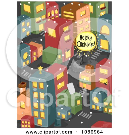 Clipart Merry Christmas Sign In An Urban City - Royalty Free Vector Illustration by BNP Design Studio