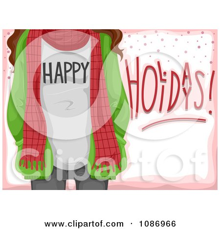 Clipart Happy Holidays Girl With A Scarf And Jacket Over Pink - Royalty Free Vector Illustration by BNP Design Studio