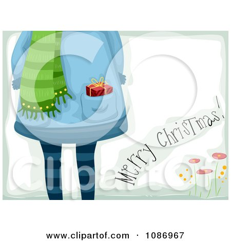 Clipart Merry Christmas Greeting And A Girl With A Gift In Her Pocket - Royalty Free Vector Illustration by BNP Design Studio