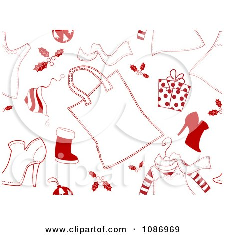 Clipart Seamless Red And White Christmas Shopping Background - Royalty Free Vector Illustration by BNP Design Studio