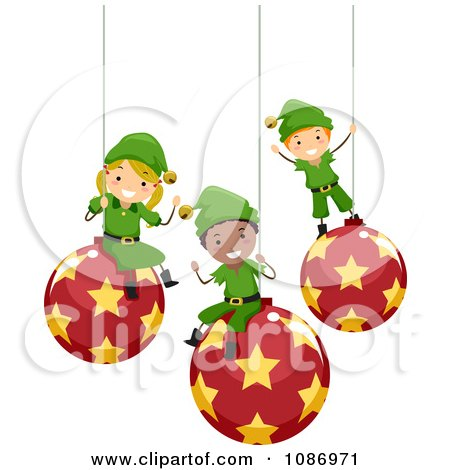 Clipart Happy Christmas Elves Sitting On Suspended Ornaments - Royalty Free Vector Illustration by BNP Design Studio