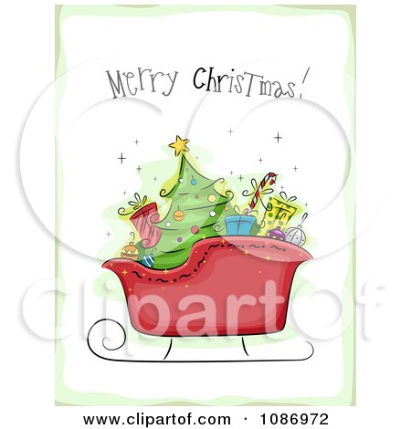 Clipart Santas Sleigh With A Merry Christmas Greeting And A Green Border - Royalty Free Vector Illustration by BNP Design Studio