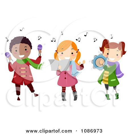 Clipart Kids Playing Instruments And Singing Christmas Carols - Royalty Free Vector Illustration by BNP Design Studio