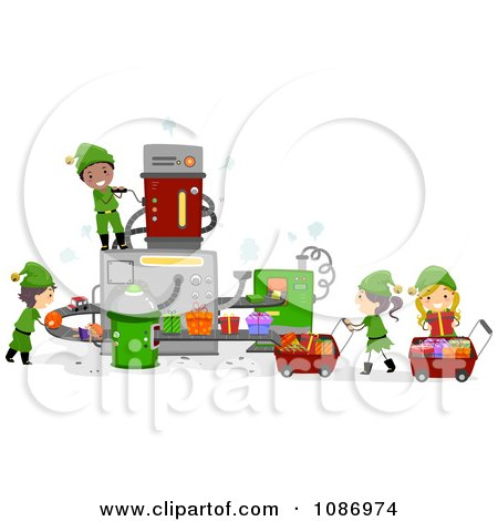 Clipart Kid Elves Working In Santas Toy Factory - Royalty Free Vector Illustration by BNP Design Studio