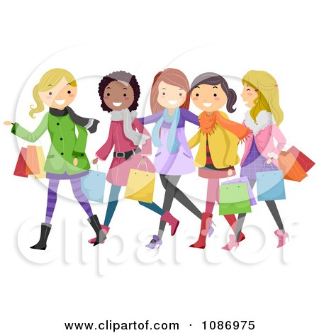 Clipart Teen Girls Having Fun Christmas Shopping - Royalty Free Vector Illustration by BNP Design Studio