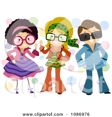 Dress on Clipart Kids Dressed Up In Retro Outfits   Royalty Free Vector