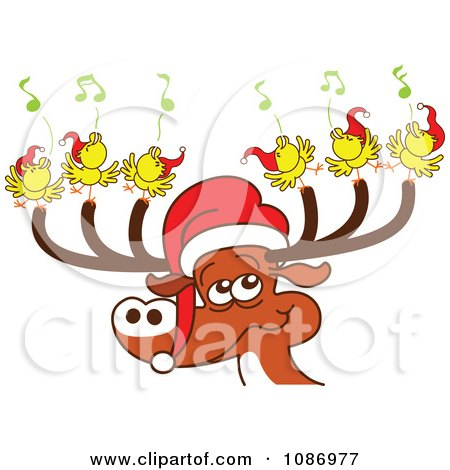 Clipart Christmas Reindeer With Caroling Birds And A Santa Hat - Royalty Free Vector Illustration by Zooco