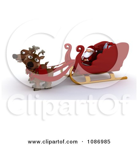 Clipart 3d Santa Sitting In His Sleigh With Two Reindeer - Royalty Free CGI Illustration by KJ Pargeter