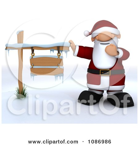 Clipart 3d Santa Presenting An Iced Wooden Sign - Royalty Free CGI Illustration by KJ Pargeter