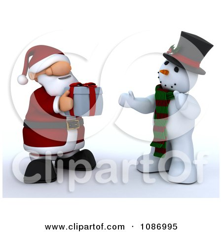 Clipart 3d Santa Giving A Christmas Gift To A Snowman - Royalty Free CGI Illustration by KJ Pargeter