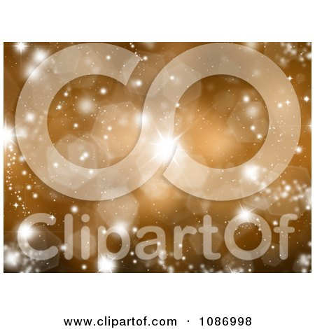 Clipart Sparkly Gold Christmas Background With Flares And Bursts - Royalty Free CGI Illustration by KJ Pargeter