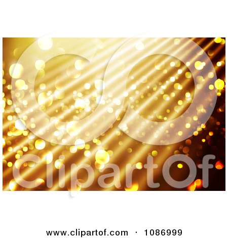 Clipart Sparkly Gold Christmas Background With Rays - Royalty Free CGI Illustration by KJ Pargeter