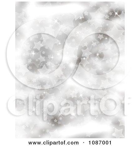 Clipart Silver Starry Christmas Background With Flares Of Light - Royalty Free CGI Illustration by KJ Pargeter