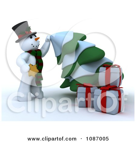 Clipart 3d Snowman Pulling Down A Christmas Tree To Apply The Star - Royalty Free CGI Illustration by KJ Pargeter