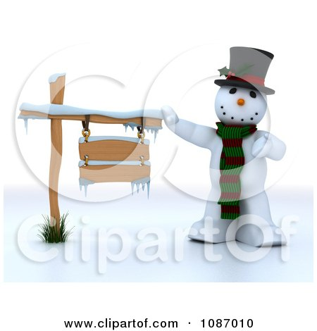 Clipart 3d Snowman Presenting A Wooden Sign - Royalty Free CGI Illustration by KJ Pargeter
