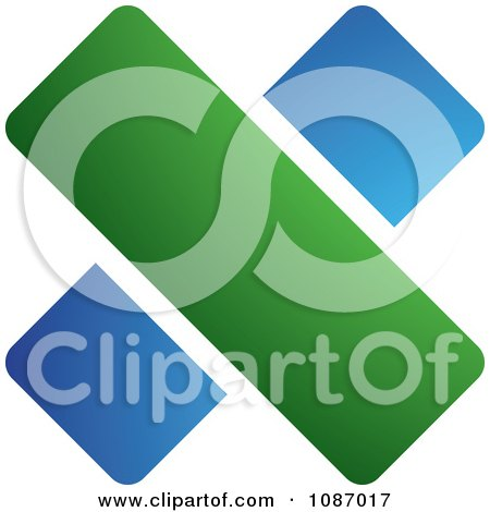 Clipart Blue And Green Division Symbol - Royalty Free Vector Illustration by TA Images