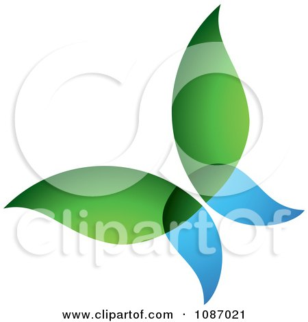 Clipart Blue And Green Ecology Butterfly - Royalty Free Vector Illustration by TA Images