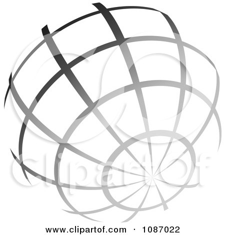 Clipart Gradient Gray Wire Globe - Royalty Free Vector Illustration by TA Images