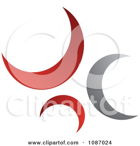Clipart Red And Gray Crescent Moons In A Circle - Royalty Free Vector Illustration by TA Images