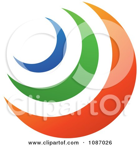 Clipart Blue Green And Orange Crescent Moons - Royalty Free Vector Illustration by TA Images