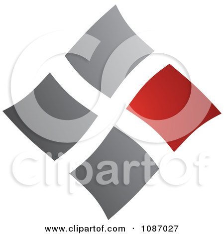 Clipart Red And Gray Squares Forming A Diamond - Royalty Free Vector Illustration by TA Images