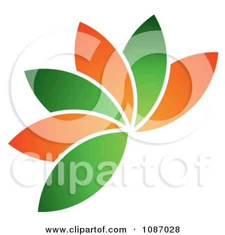 Clipart Fanned Orange And Green Leaves Or Petals - Royalty Free Vector Illustration by TA Images