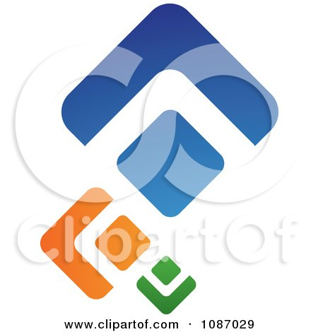 Clipart Green Orange And Blue Diamonds - Royalty Free Vector Illustration by TA Images
