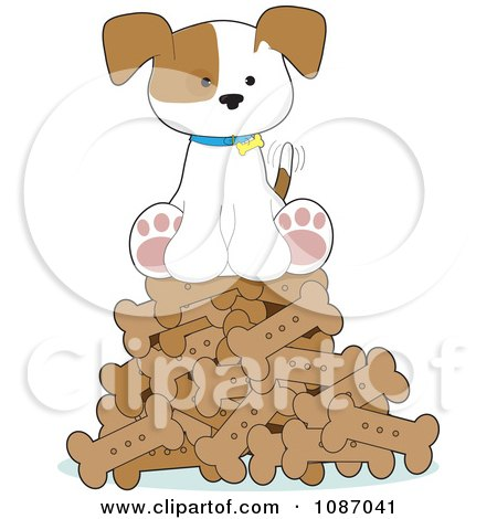 Clipart Happy Puppy Sitting On A Pile Of Dog Bones - Royalty Free Vector Illustration by Maria Bell
