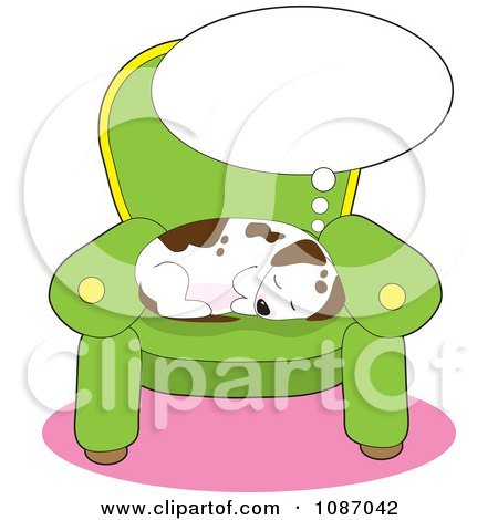 Clipart Comfortable Puppy Sleeping And Dreaming On A Chair - Royalty Free Vector Illustration by Maria Bell