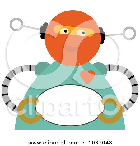 Clipart Sweet Robot Holding An Oval Sign - Royalty Free Vector Illustration by mheld
