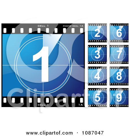 Clipart Blue Numbered Film Cells - Royalty Free Vector Illustration by michaeltravers